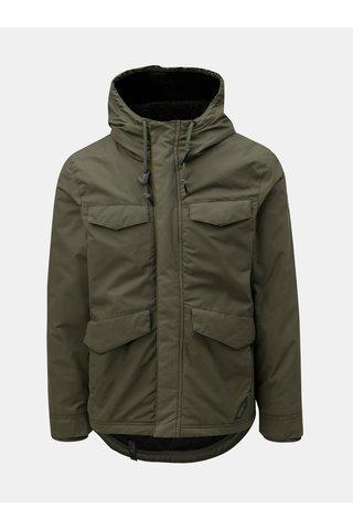 Jacheta barbateasca verde de iarna cu gluga Ragwear