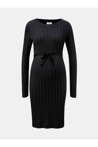 Rochie albastru-negru tricotata in dungi pentru femei insarcinate Mama.licious Bea
