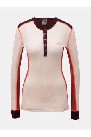 Tricou functional bordo-roz cu maneci lungi din lana merino Kari Traa Flette