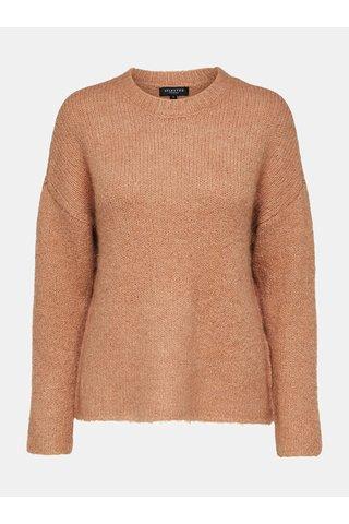 Pulover maro cu amestec de lana Selected Femme Regina