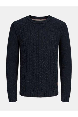 Pulover albastru inchis cu amestec de lana Jack & Jones Johonson