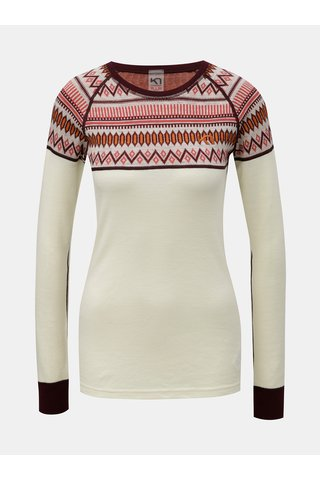 Tricou functional bordo-crem din lana merino cu model Kari Traa Løkke