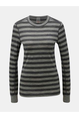 Tricou functional gri in dungi din lana merino Kari Traa Ulla