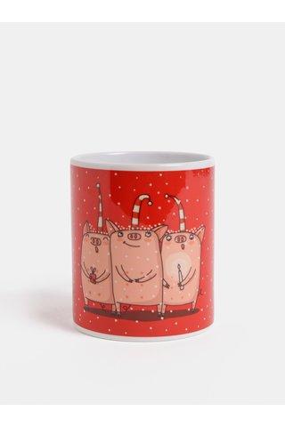 Červený hrnek s vánočním motivem prasátek Butter Kings