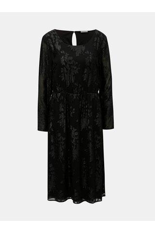 Rochie midi neagra cu model si maneci lungi VILA Oliane
