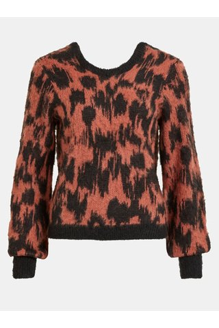 Pulover negru-caramiziu cu model si amestec de lana VILA Baini
