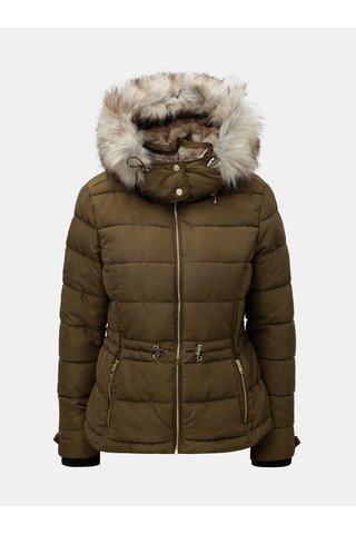 Jacheta kaki matlasata de iarna cu blana artificiala ONLY Vigga