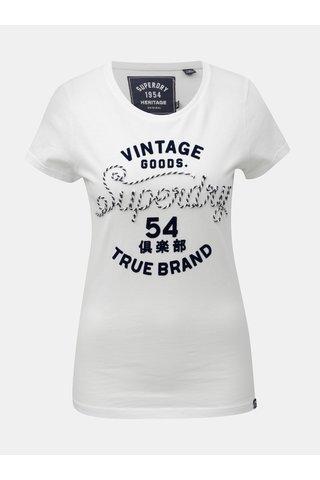 Tricou de dama alb cu motiv petic Superdry Rope