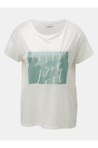 Tricou alb cu imprimeu si inscriptie din piele intoarsa Jacqueline de Yong Roa