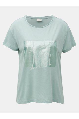 Tricou mentol cu imprimeu si inscriptie din piele intoarsa Jacqueline de Yong Roa