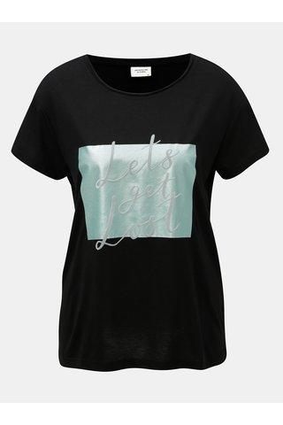 Tricou negru cu imprimeu si inscriptie din piele intoarsa Jacqueline de Yong Roa