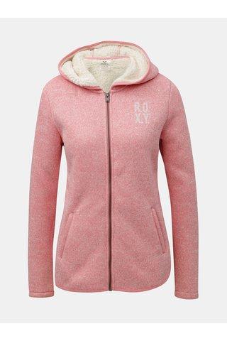 Pulover roz de dama din fleece cu fermoar si blana artificiala interioara Roxy Cosy