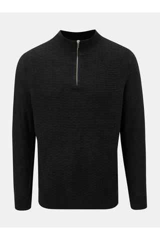 Pulover gri inchis cu fermoar Burton Menswear London