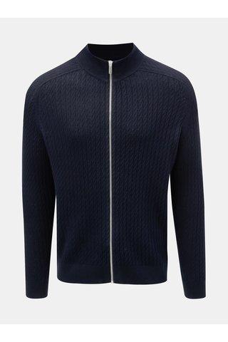 Pulover albastru inchis cu model si fermoar Burton Menswear London Cable