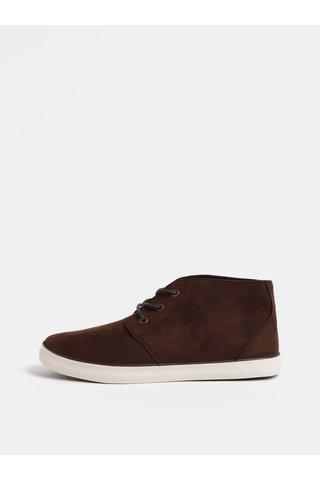 Pantofi sport barbatesti maro inchis cu aspect de piele intoarsa Burton Menswear London Ashlee