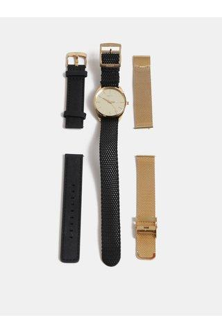 Ceas de dama cu 3 curea interschimbabila negru si auriu cadou ambalaj Roxy Mirror