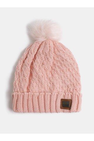 Světle růžová dámská čepice s bambulí z umělého kožíšku Roxy Blizzard