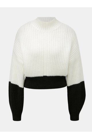Pulover negru-alb crop lejer cu guler inalt Miss Selfridge