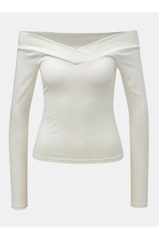 Tricou alb crop cu decolteu pe umeri Miss Selfridge Cross Over Bardot