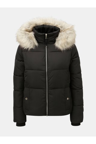 Jacheta neagra matlasta de iarna cu blana artificiala detasabila pe gluga Miss Selfridge Puffer