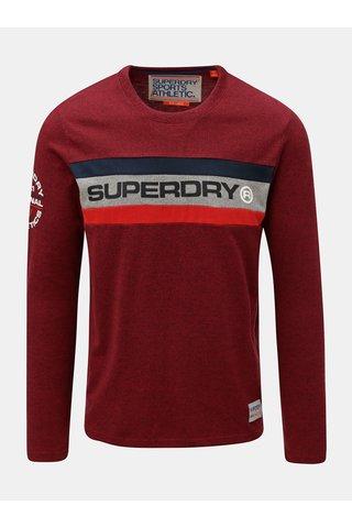 Tricou barbatesc rosu cu imprimeu pe o maneca Superdry Trophy