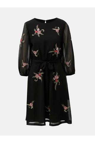 Rochie neagra cu maneci lungi si broderie florala M&Co Floral
