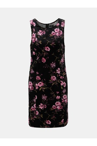 Černé květované manšestrové šaty s kapsami M&Co Flora