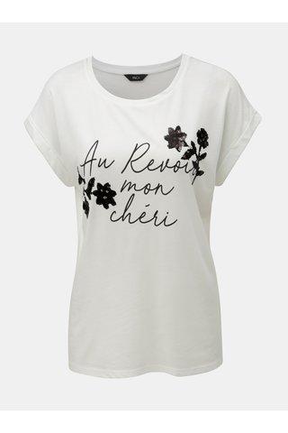 Bílé tričko s flitry a potiskem M&Co Aurevoir