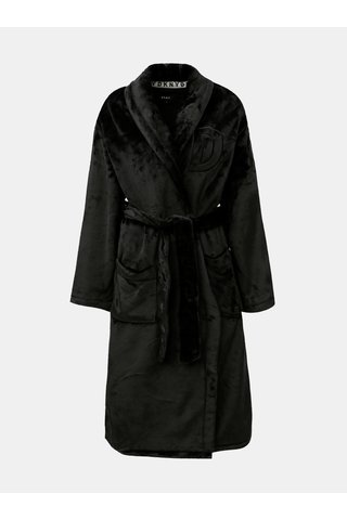 Černý unisex župan s vyšitým logem na zádech DKNY