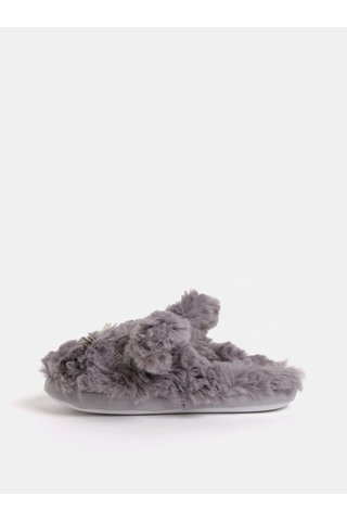 Papuci gri din blana artificiala in forma de iepure Dorothy Perkins
