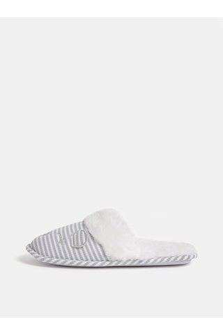 Šedo-bílé chlupaté papuče s motivem myši Dorothy Perkins