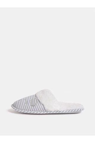 Papuci gri-alb din blana artificiala cu motiv soareci Dorothy Perkins