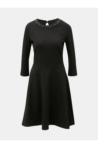 Rochie neagra cu margele pe decolteu si maneci 3/4 Dorothy Perkins Embellished