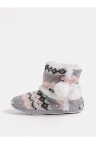 Papuci alb-roz cu pom pom si blana artificiala interioara Dorothy Perkins Bootie