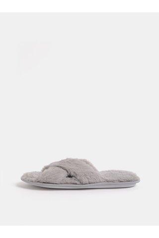 Šedé chlupaté pantofle Dorothy Perkins