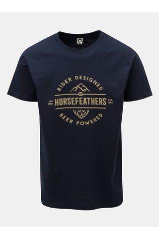 Tricou barbatesc albastru inchis cu imprimeu si maneci scurte Horsefeathers Mt. Top