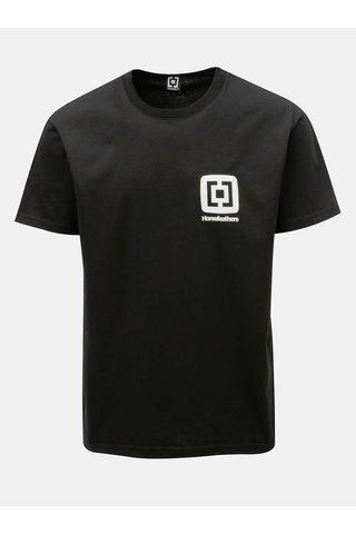 Tricou barbatesc negru cu imprimeu si maneci scurte Horsefeathers Mini Logo