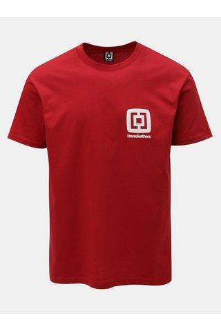 Tricou barbatesc rosu cu imprimeu si maneci scurte Horsefeathers Mini Logo