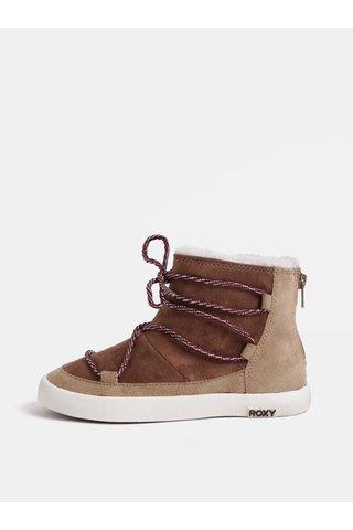 Hnědé holčičí kotníkové boty v semišové úpravě s umělým kožíškem Roxy Jo