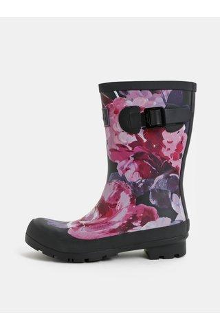 Cizme de ploaie roz-negru florala de dama cu catarama decorativa Tom Joule Molly