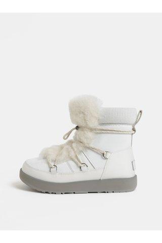 Bílé voděodolné kožené zimní boty s kožíškem UGG Highland