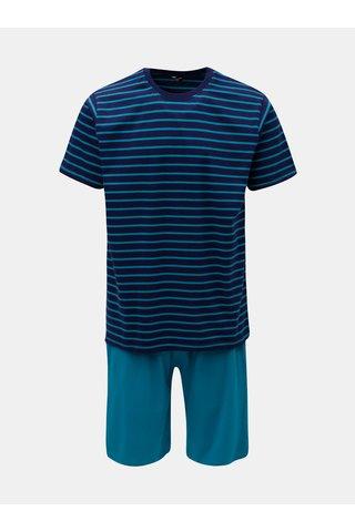 Tmavě modré pánské pruhované dvojdílné pyžamo M&Co