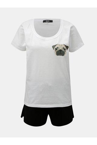 Černo-bílé dámské dvoudílné pyžamo s potiskem ZOOT Mops