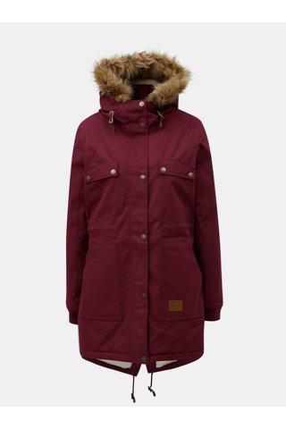 Geaca parka bordo de dama de iarna cu blana artificiala interioara Meatfly Ruby