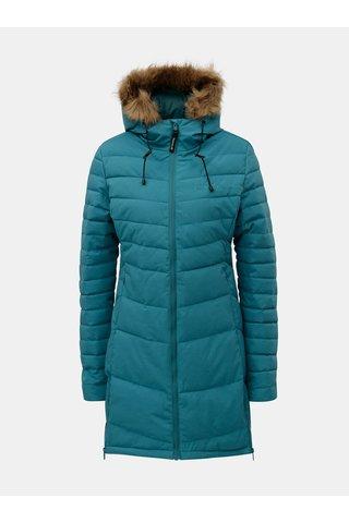 Petrolejový dámský prošívaný kabát s umělým kožíškem Meatfly Olympia