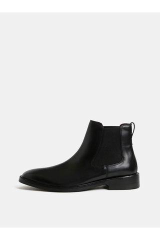 Černé pánské kožené chelsea boty London Brogues