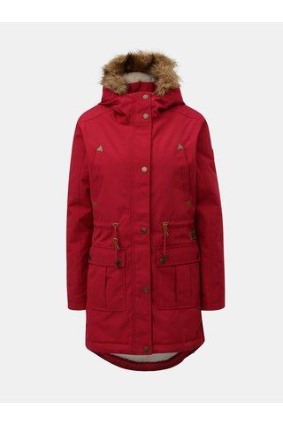 Geaca parka bordo de dama de iarna cu blana artificiala interioara Meatfly Rainy