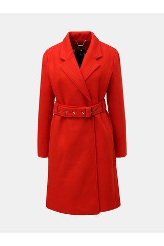 Červený kabát s páskem a příměsí vlny Smashed Lemon