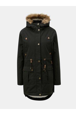 Geaca parka neagra de dama de iarna cu blana artificiala interioara Meatfly Rainy