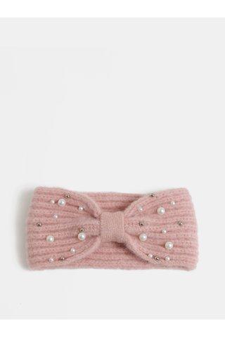 Světle růžová zimní čelenka s perličkami Pieces Felia